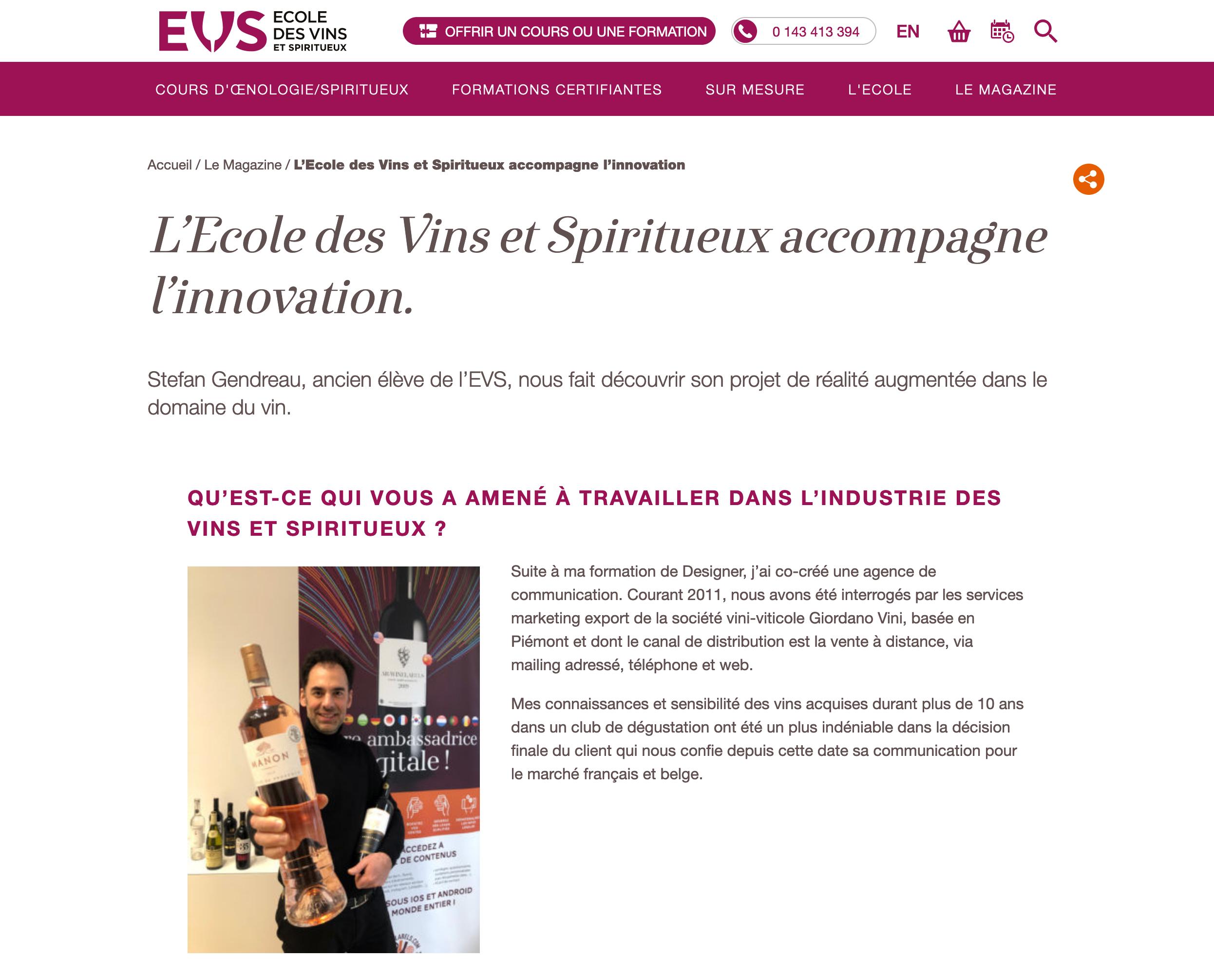 L'École des Vins et Spiritueux d'Olivier Thiénot parle de nous !