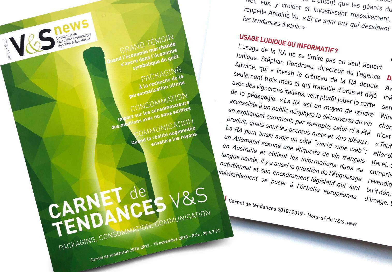 HS V&S News 2018/2019 Carnets de tendances Dossier sur la réalité augmentée des étiquettes pour Vins & Spiritueux